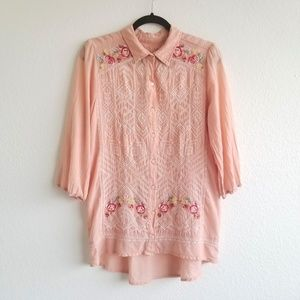 3J Workshop Johnny Was Embroidered Button Up Top